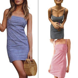 Womens Spaghetti Strap Square Neck Slim Package Hip Mini Pencil Dress Vintage Plaid Print Empire Waist Night Party Clubwear ZFN