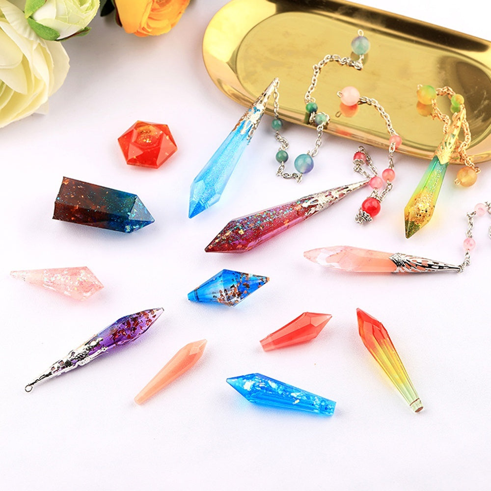Necklace Pendant Crystal Pendulum Epoxy Resin Molds Silicone Mould Jewelry Making Tools Craft DIY  Silicone Mold