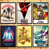 2style 30Kind PUBG/PLAYERUNKNOWN S BATTLEGROUNDS/chicken poster Kraft Photo Posters Vintage Poster for Bedroom Living Room Decor Wall sticker (11.6*16.5 Inch)