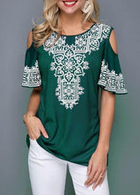 Load image into Gallery viewer, New Women's Fashion Summer Loose Tops Short Sleeve Round Neck Printed Blouses