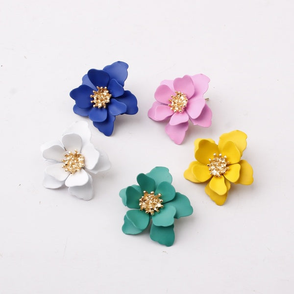 New Fashion Flower Earrings Acrylic Earrings Sweet Stud Earrings Ethnic Earrings Party Earrings Statement Jewelry Brincos Gifts