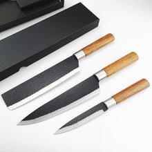 Load image into Gallery viewer, Chef Knife Set Knives Kitchen Set - Stainless Steel Kitchen Knives Set Wood Handle with  Black Gift Box- Professional Chppping Fruit Knife Sharpener - 3 Piece Stainless Steel Cutlery Knives Set