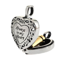 Load image into Gallery viewer, Titanium Steel Cremation Urn Heart Hollow Necklace For Ashes