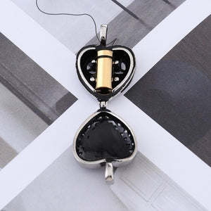 Titanium Steel Cremation Urn Heart Hollow Necklace For Ashes