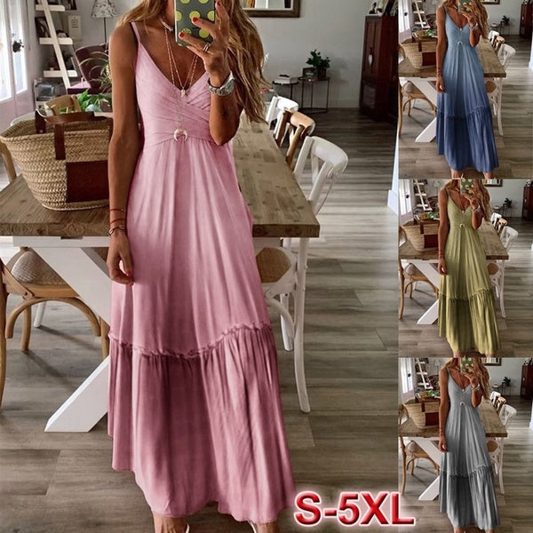 New Summer Women 4 Colors Sleeveless Color-Block Dresses U-Neck Big Swing Gradient Dress Summer Tank Dress Loose Casual Long Maxi Dresses Plus Size