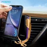 FDGAO Qi Wireless Car Charger Automatic Clamping 10W Fast Charging 360 Degree Rotation Air Vent Car Mount Holder for Iphone Samsung Huawei Android