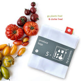 New Simple Reusable Produce Bags Washable Mesh Bags for Fruits and Vegetables Set of 5pcs Mesh Bag