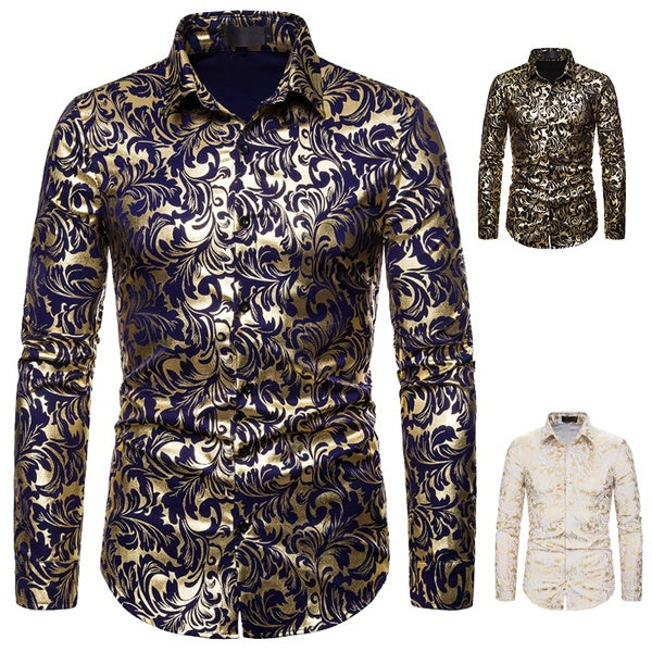 New Men's Casual Shirt Fashion Printing Business Leisure Long-sleeved Shirt Date Shirt