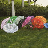 Women Lace Embroidery Umbrella Party Wedding Bridal Shelter Decor Wedding Paraguas