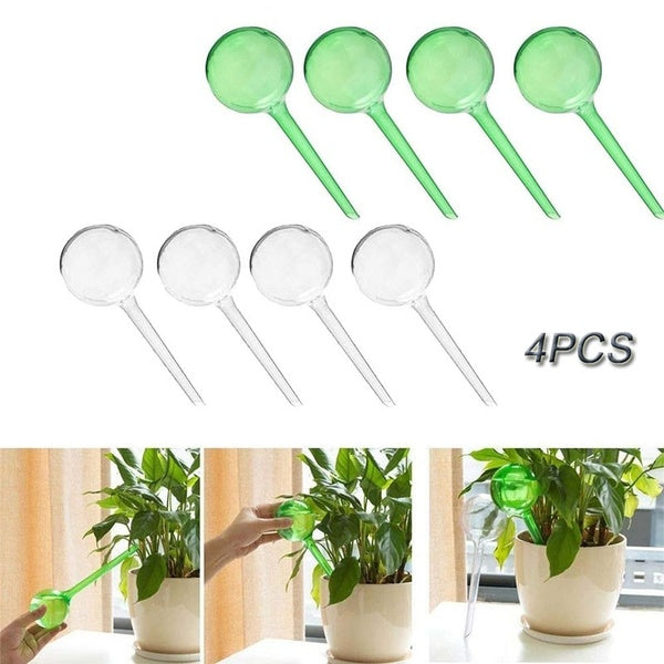 4 PCS Garden Auto Plant Self-Watering Globes Spikes Watering Feeder Equipment