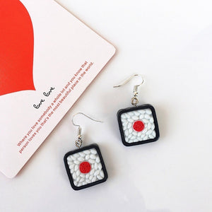 Lovely Handmade Japanese Harajuku Rice Balls Drop Earrings Diy Cute Geometric Sushi Food Funny Earrings For Women Girl Jewelry