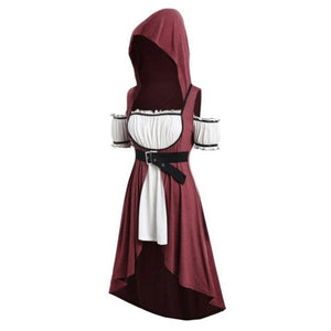 2019 Women Fashion Medieval Renaissance Dress Halloween Cosplay Costume Vintage Dress Short Sleeve Slim Waist Dress Hooded Fake Two Piece Dress With Belt