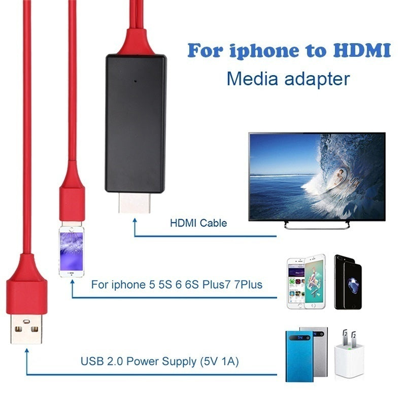 2M 8 Pin To HDMI Cable HD 1080P HDMI Converter Adapter Cable USB Cable For HDTV TV Digital AV For Phone