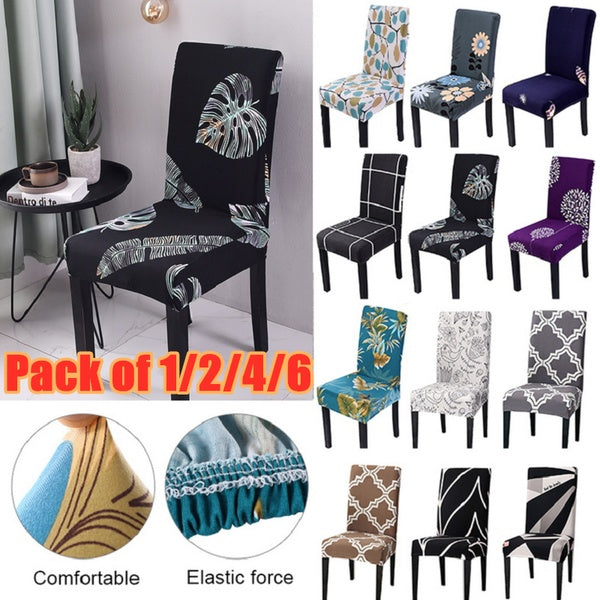 Pack Of 1/2/4/6 Spandex Removable  Chair Cover Stretch Elastic Dining Seat Cover For Banquet Wedding Restaurant Hotel