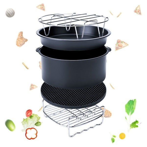 3/5/7 Pcs 7 Inch Air Fryer Accessories Set Cake Baking Barrel Pizza Pan Rack Tray Shell Kitchen Accessories