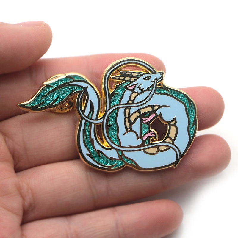L1444 Fashion Cool White Dragon Metal Enamel Brooches and Pins Collection Lapel Pin Badge Jewelry