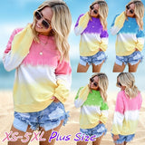 2019 New Fashion Spring&Autumn Loose O-neck Shirts Long Sleeve Gradient Color Cotton Printing T-shirt Blouses Plus Size
