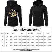 Load image into Gallery viewer, 2019 New King Queen Print Long Sleeve Couple Hoodies Valentines Day Gift For Lovers Casual Hooded Sweatshirt Pullover Tops