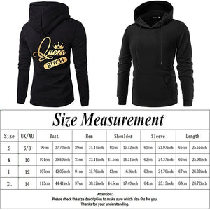 2019 New King Queen Print Long Sleeve Couple Hoodies Valentines Day Gift For Lovers Casual Hooded Sweatshirt Pullover Tops
