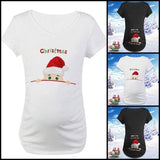 New Christmas Maternity Letter Printed Loose Cotton T-Shirt Baby Shower Dress Christmas Maternity Shirt Pregnant Women Casual Valentines Day Gift Clothing