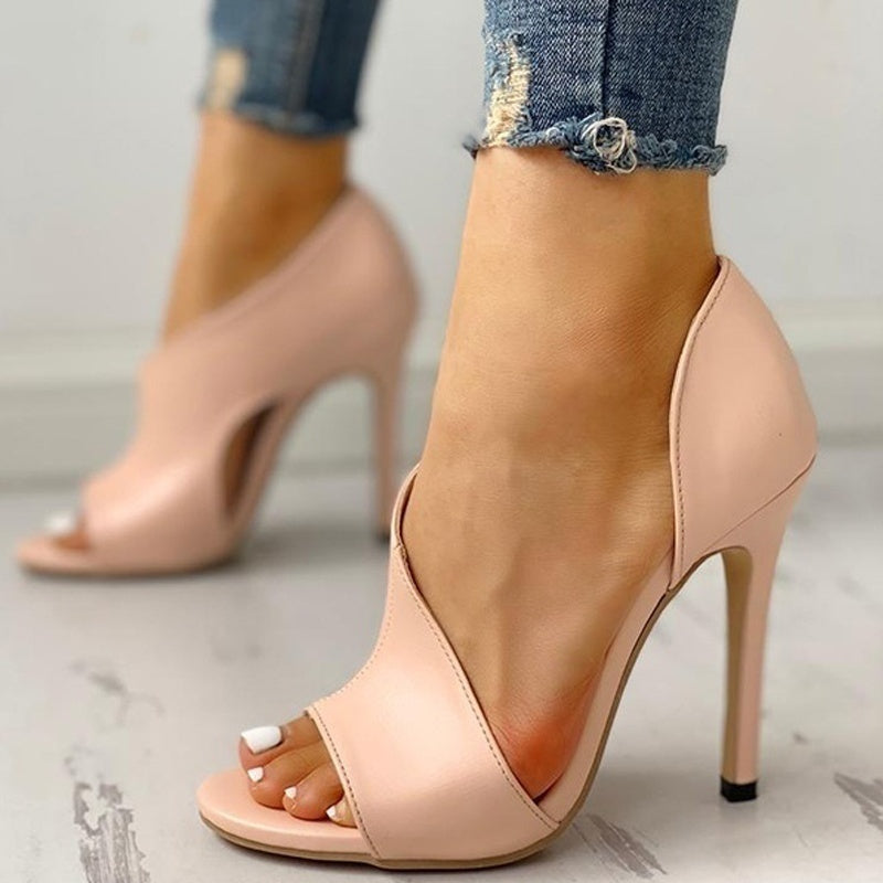 Womens High Heel Sandals Summer Open Toe Stiletto  Cut Out Heels Shoes  Party Shoes