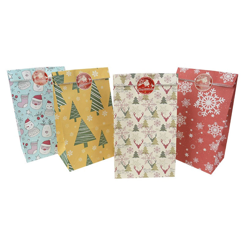 12pcs Mix Kraft Paper Gift Bags Snowflake Print Christmas Bags Party Favors Box Xmas Kids Gift Packing Noel Navidad Decor Supplies