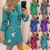 NEW Womens Fashion long Sleeveless butterfly Print loose casual plus size Dress