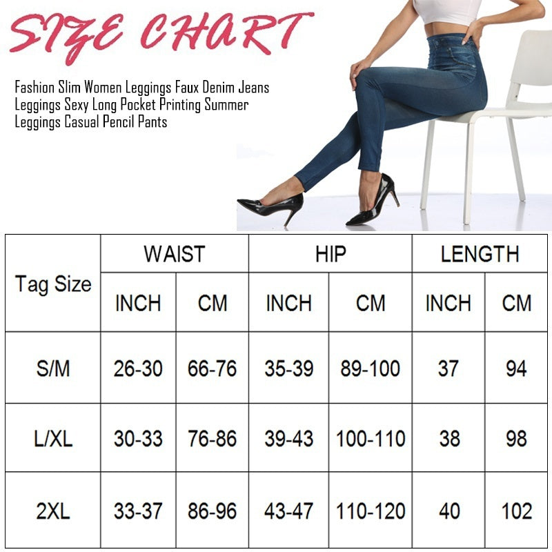 Faux Denim Women Leggings Skiny Jeans High Waist Fashion Slim Seamless Long Jeans Printing Fitness Casual Pencil Pants