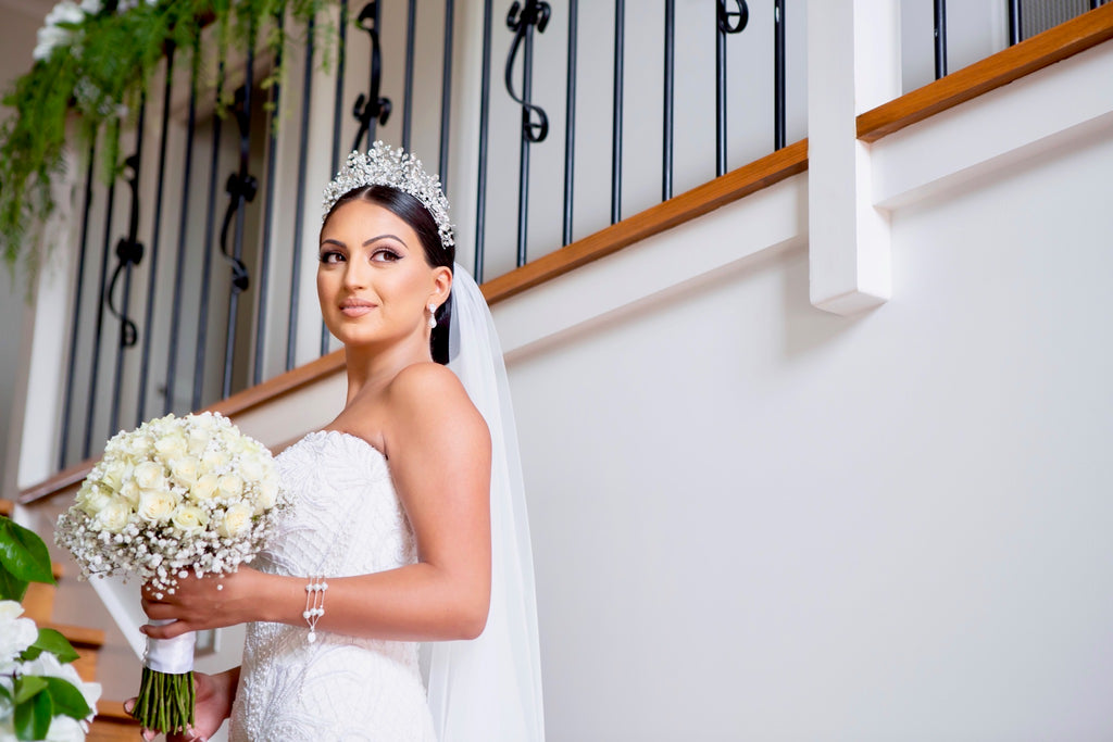 Georgette in her wedding ensemble wearing our Katrina Crown