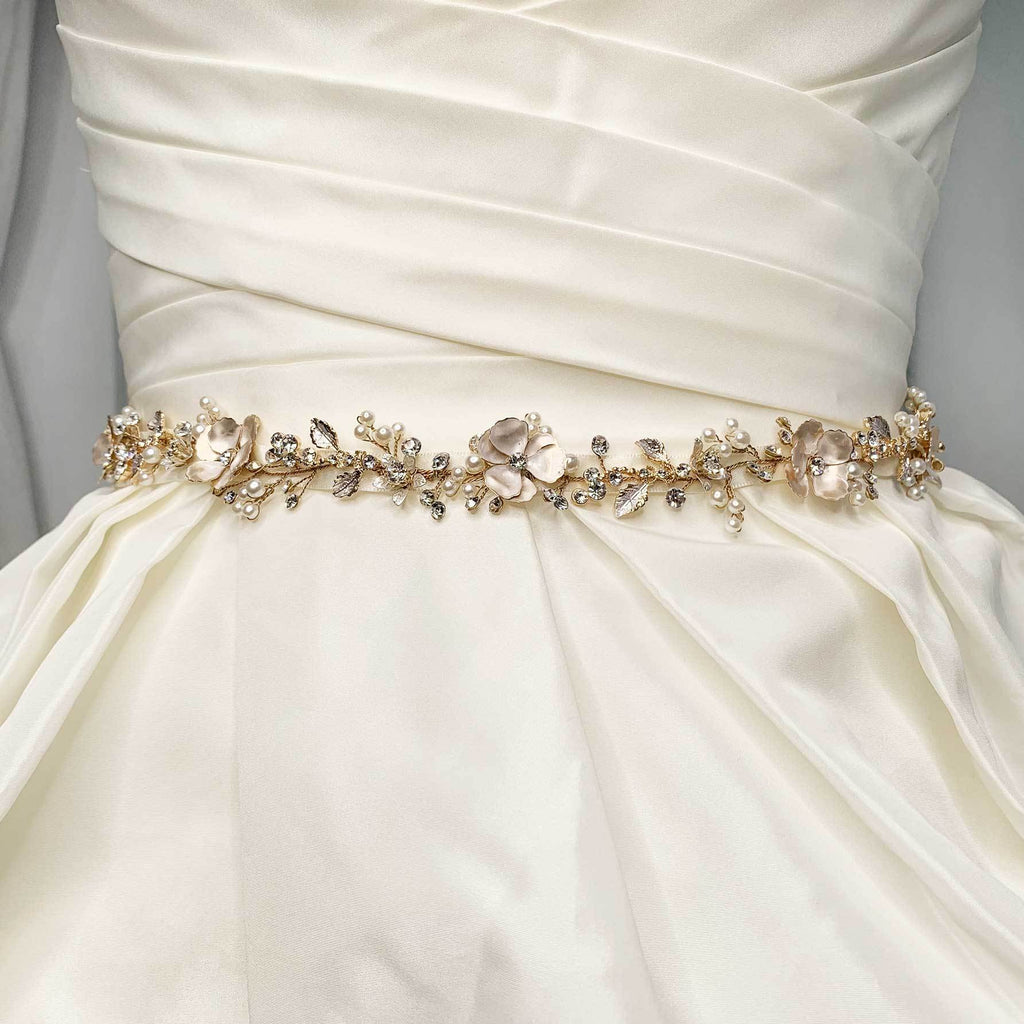 Custom Gold Floral Belt modelled on a Bridal Dress