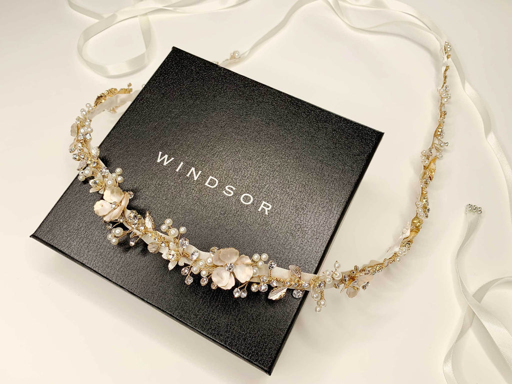 Custom Gold Floral Bridal Belt photographed on Windsor Bridal Jewellery Packaging