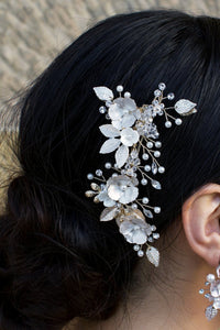 Pale Gold Bridal Hair comb with flowers and clip fitting looks lovely on dark hair