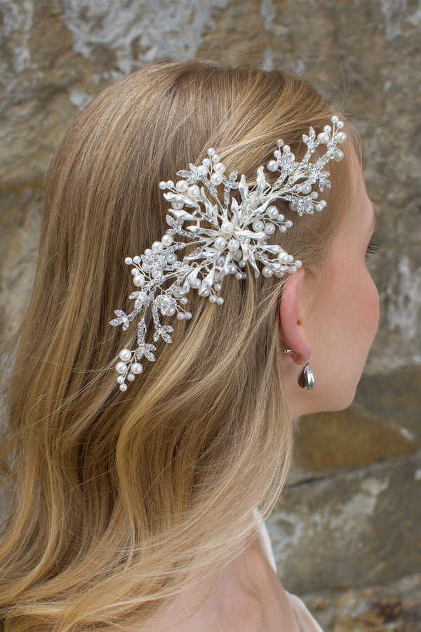 Soft Silver Bridal Hair Comb with pearls and clip fitting shown on a  blonde hair bride