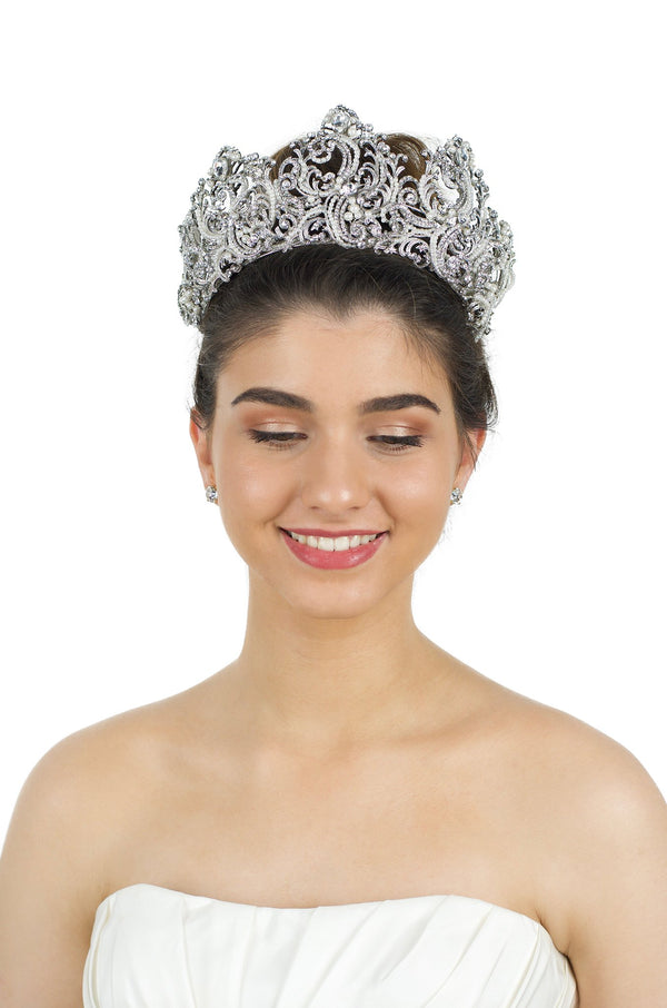 Five point crown with pearls shown on a lovely smiling bride