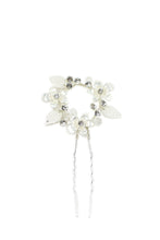 Load image into Gallery viewer, Silver small hairpin for Brides with leaves and flowers shown on a white background