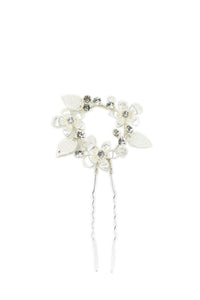 Silver small hairpin for Brides with leaves and flowers shown on a white background