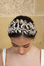 Load image into Gallery viewer, Double row pale gold headband with pearls worn by a dark hair model with a sandstone wall
