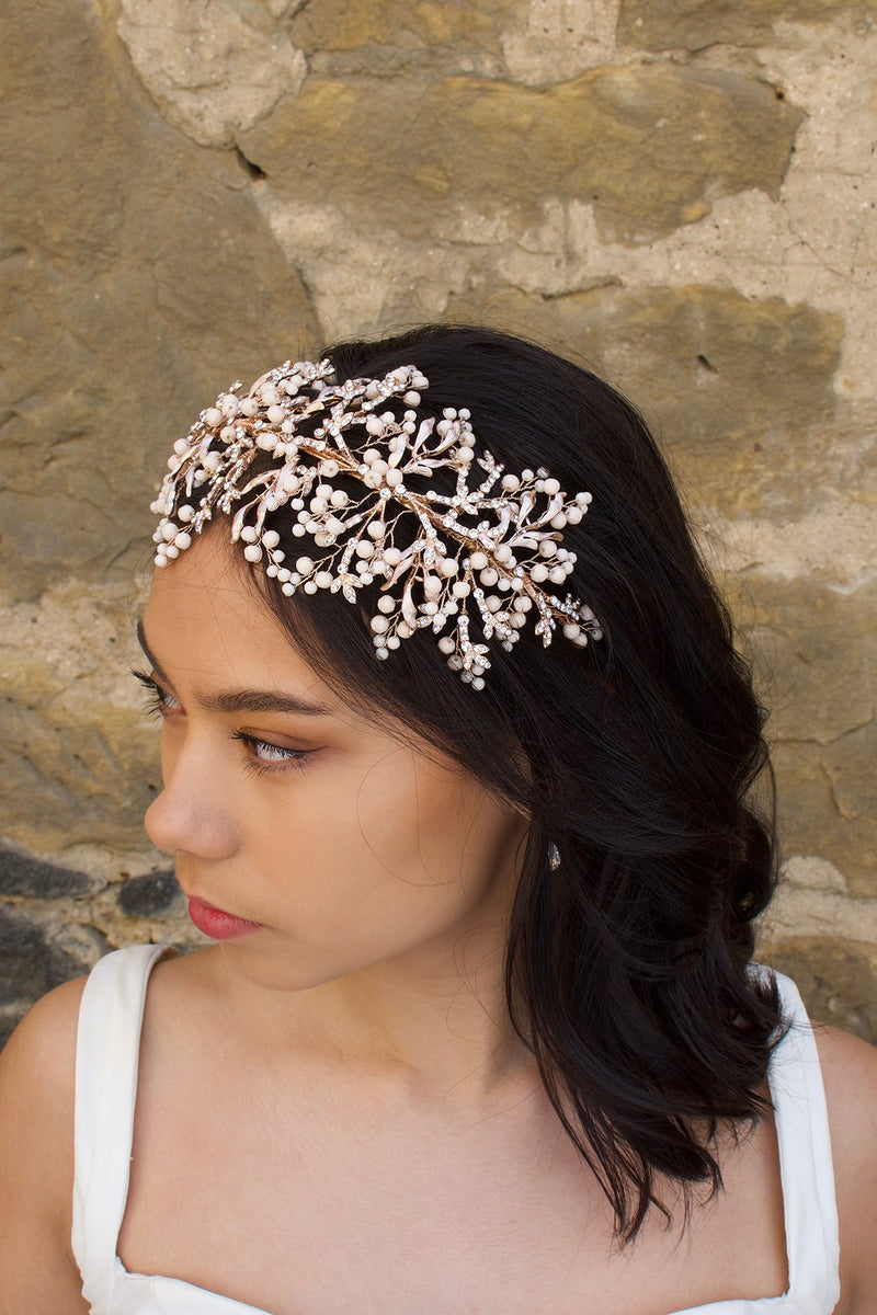 Rose Gold and Coral Colour wide headband worn by a bride