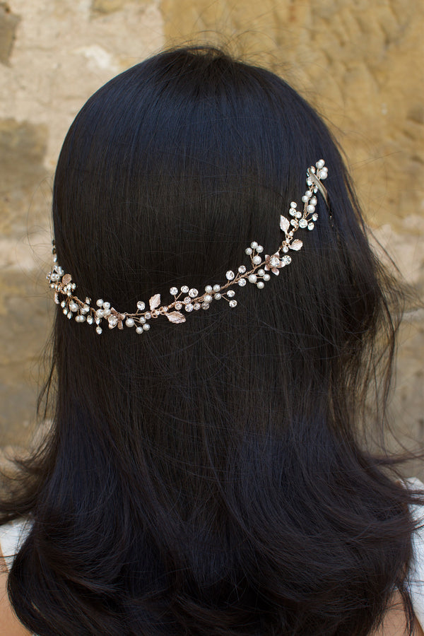 Rose Gold Long Vine with tiny leaves crystals and pearls on a dark hair model