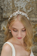 Load image into Gallery viewer, Low Bridal Headband in silver with pearls worn by blonde bride