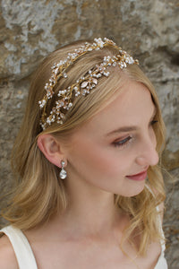 Blonde Bride wearing a Pale gold headband with a stones background