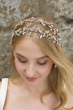 Load image into Gallery viewer, Double row pearl and rose gold headband worn by a blonde model
