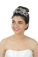 Load image into Gallery viewer, Wide Headband encrusted with many tiny stones worn by a beautiful bride