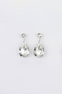 Bright Silver earring in a pear shape with clear swarovski stones