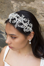 Load image into Gallery viewer, Wide Silver and clear crystal bridal headband worn by a dark haired bride with a stone backdrop