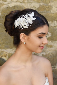 Ivory lace bridal side comb with few crystals shown with Bridal hair style