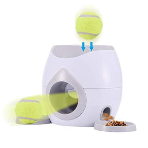 Automatic Throwing Pet Tennis Ball Fetch Machine w/ Food Dispenser - Couture Whiskers