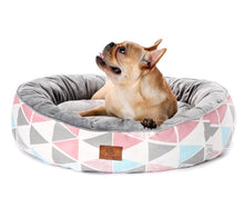 Load image into Gallery viewer, Crystal Plush Round  Pet Bed - Couture Whiskers