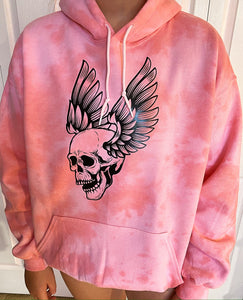 Coral Skull With Wings Hoodie