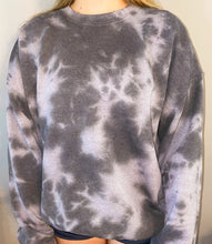 Load image into Gallery viewer, Black Gray Tie Dye Sweatshirt